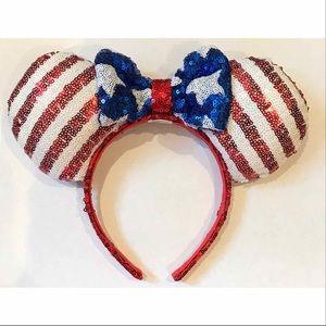 Disney Minnie Mouse American Flag Headband Ears